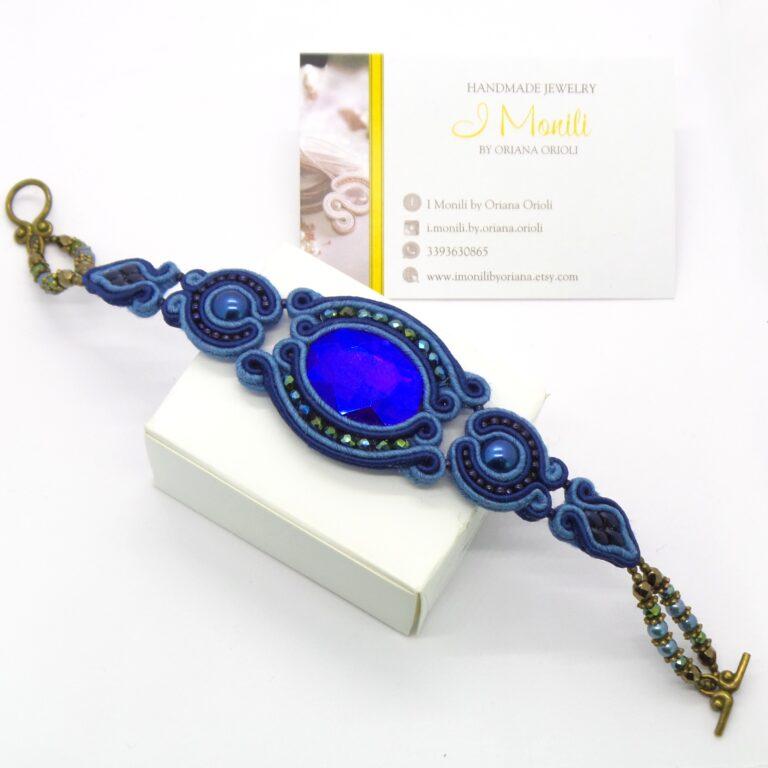 Bracciale donna blu con cristalli e perle